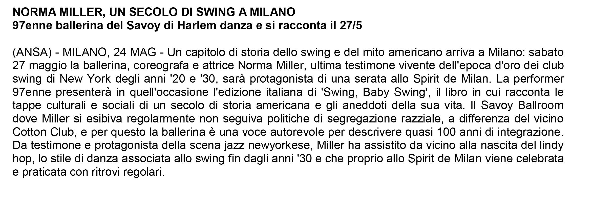NORMA MILLER, un secolo di swing a milano 24/05